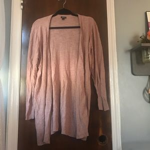 Rose colored button down long cardigan